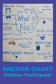 BEACH Thinking colors/feelings/music connection with this Anchor Chart for color blue, primary colors, writing in preschool Kindergarten Colors, Kindergarten Anchor Charts, Preschool Colors, Teaching Colors, Teaching Ideas, Preschool Graphs, Preschool Writing, Kindergarten Classroom, Preschool Activities