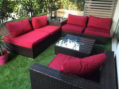 Salon de jardin 14 places en résine tressée canapé modulable ...