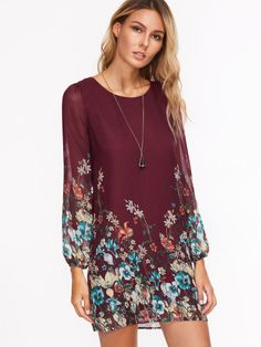 Multicolor Floral Print Long Sleeve Chiffon Dress