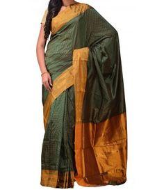 Green Pure Handloom Narayanpet Silk Saree