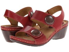 Softspots Pamela 2Strap Slingback Wedge Sandal leather red, black, nutmeg, anthracite 2h sz7.5 84.95 3/16