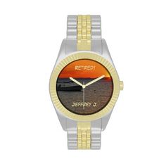 """Retired! Wrist Watch, Fishing Boat - This wrist watch, with it's unique photo face and gold and silver tone strap, is a great gift for a retiree. The watch face is a dramatic sunset photo with a vivid orange sky and silhouette of a fishing boat. Text is """"Retired!"""" and a name, but you can easily modify it. There are also greeting cards and party invitations, and other gift items in this pattern at www.zazzle.com/SocolikCardShop*. All Rights Reserved © 2013 Marcia Socolik.  #Fishing…"""