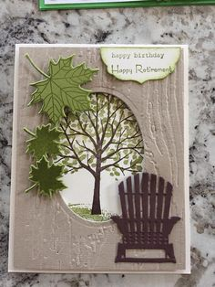 I find this card so very serene and lovely!  Could switch out the tree with a lighthouse and the leaves with shells for another scene!