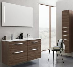 Fresco 1200 double basin, 4 drawer vanity unit with handles, Mirror + Tall Cupboard with Handles. Bathroom furniture | dansani.co.uk
