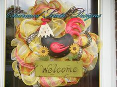 Black and Red Rooster Wreath by CharmedSouth on Etsy, $69.00