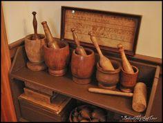Magickal Ritual Sacred Tools:  Old wooden mortars and pestles.