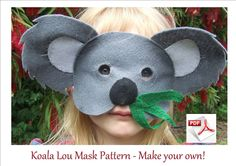 Koala Lou Mask Pattern.  Make your own cute, furry comfortable childrens mask.  FREE POST.. $4.00, via Etsy.