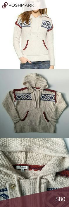 """Madewell Fair Isle Pullover Hoodie Sweater Madewell Fair Isle Hoodie Sweater   Sold out on madewell.com  PRODUCT DETAILS A hoodie turned fair isle sweater, this incredibly soft textured pullover is a cozy-day go-to.   True to size. Wool/nylon/alpaca. Dry clean. Import. Retails $128  Size Small  Armpit to armpit - 21""""  Excellent pre-owned condition Madewell Sweaters Cowl & Turtlenecks"""