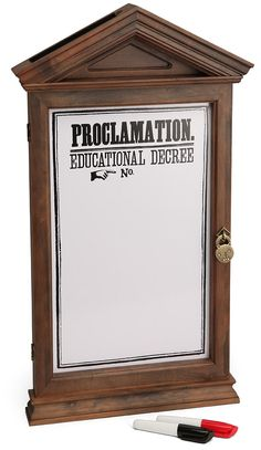 Out of stock but could be a fun craft    ThinkGeek :: Harry Potter Proclamation Board