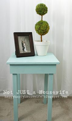 How to build a simple side table. Note to self: I like the version with reclaimed barn wood better.