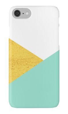 'Gold & mint geometry' Phone Case by artbyjwp by society6 #phonecases #iphonecase #samsunggalaxycase #artprints #buyart #minimal #modern #abstract #geometric #goldandmint