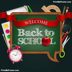Welcome Back To School, Blackboard Speak Bubble With Ribbon, Red Apple, Alarm Watch And Colorful Sch poster #poster, #printmeposter, #mousepad