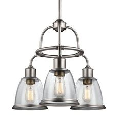 Feiss Hobson Satin Nickel Three Light 22 Inch Wide Chandelier With Clear Seeded Glass On SALE