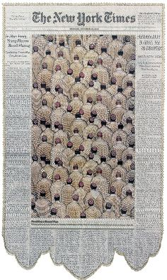 Newspapers cut like lace by Myriam Dion.