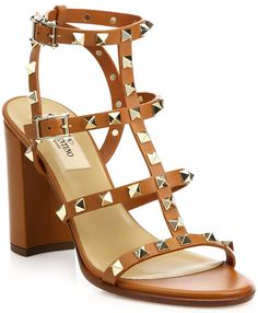 "Valentino ""Rockstud"" Block-Heel T-Strap Sandals in Cognac Leather"