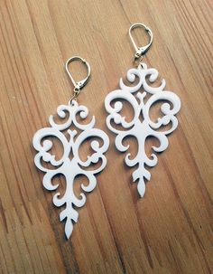 White Acrylic Laser Cut Earrings - Statement Jewelry - Romantic Victorian Motifs