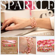 rhinestone and ribbon braided bracelet - along with some aleene's fabric or jewel-it glue and embroidery thread, you can pull together a sparkling accessory in no time