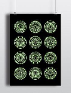 LE Geometric Ebony and Light Green Screen Print