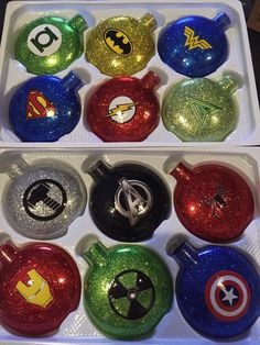 Superhero glass ornaments set of 6 by PrincessOfPinterest on Etsy
