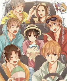 Hetalia - Axis Powers and Allied Powers ~ Russia, China, France, England, America, Japan, Italy, Germany Road Trip