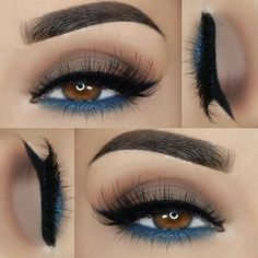 Winged eyeliner with turquoise