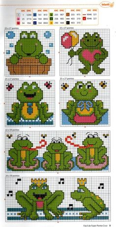 EMBROIDERY – CROSS-STITCH / BORDERIE / BORDUURWERK – FROG / GRENOUILLE / KIKKER - Gallery.ru / Фото #6 - Ano 5 № 55 - logopedd