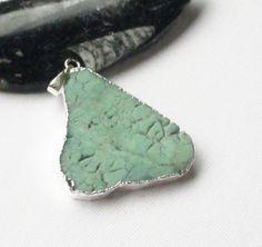 Chrysoprase Silver Pendant Green Flat Slice Dipped by BijiBijoux