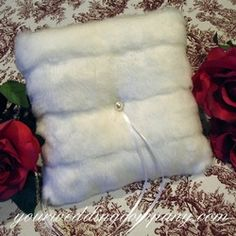 Bethany Faux-Mink Ring Pillow -winter wedding theme - faux mink fur and accented with a white Swarovski pearl - http://www.yourweddingcompany.com