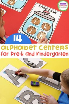 The best alphabet centers for Kindergarten or Pre-k! If you're looking to help your early learning students explore letters, you need these 14 alphabet centers for your Kindergarten classroom. These will make teaching kindergarten fun, simple, and organized. #kindergarten #preschool #alphabet #alphabetcenters