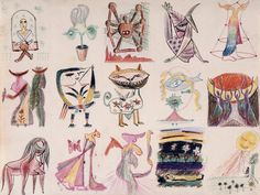 """Collective drawing"" (1940) by wifredo lam, Andre Bretton, Oscar Domínguez, Max Ernst, Jacques Hérold, Jacqueline Lamba, André Masson and Victor Brauner."