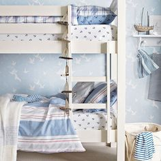 Blue coastal-style boys' room with bunk beds | Children's room decorating | housetohome.co.uk