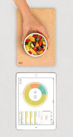 The Prep Pad weighs all of the ingredients in your meal and syncs to an app on your iPad or iPhone where it loads that information into your diet plan.