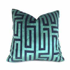Robert Allen Larry Laslo Velvet Maze Aquamarine Greek Key Velvet Pillow Cover