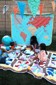 World map quilt. Bring a piece of fabric back from every place you visit and make that the fabric for the country.