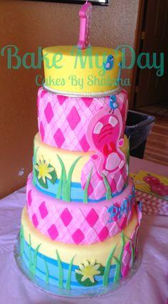 Pink Hippo Birthday Cake