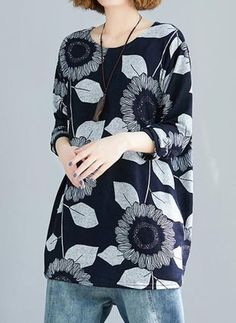 FloryDay / Black Friday Floral Round Neck Long Sleeve Casual T-shirts Casual T Shirts, Latest Fashion Trends, Black Friday, Long Sleeve Shirts, Kimono Top, Floral, T Shirts For Women, Cyber Monday, Sleeves