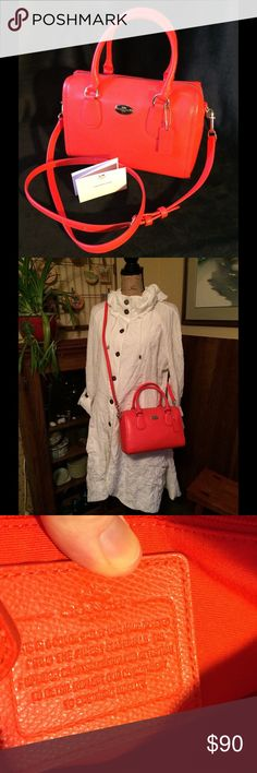 SALE  Coach Coral Leather Mini Satchel  Coach Coral Leather Mini Satchel  Coral-orange color, great summer accessory! Bag is in perfect condition, no marks, scratches, etc. Because it is a Mini bag, Coach regularly did not put a serial number on the label. Original care card included. DUST BAG included. More photos available. $115 Coach Bags Mini Bags