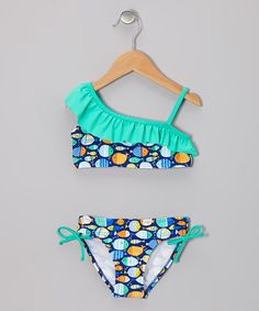 Look at this #zulilyfind! Blue Ocean Fish Ruffle Bikini - Toddler & Girls by Envya Swimwear #zulilyfinds