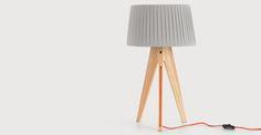 Miller Table Lamp, Natural Wood and Orange