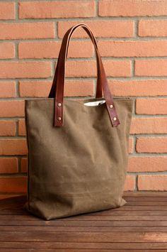 Waxed canvas bag  Tote bag  Handmade waxed by Creazionidiangelina, $115.00