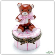 Rochard Teddy with Bow First Curl Pink Limoges Box.