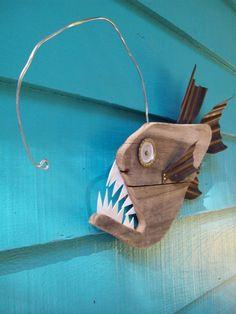 Anglerfish, upcycled, made of recycled wood, angler fish. $28.00, via Etsy.