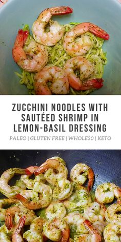 I love Zucchini Noodles with Sautéed Shrimp in Lemon-Basil Dressing because it sounds so fancy and it tastes like healthier shrimp scampi -- but it's so easy to make! Try it!