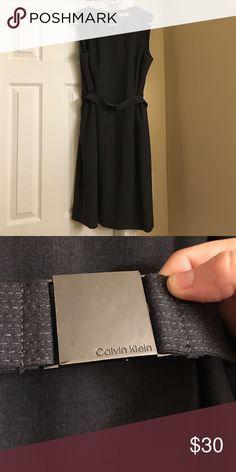 grey calvin klein belted dress size 12 grey calvin klein belted dress size 12. fully lined, with back zipper closure. worn twice. Calvin Klein Dresses
