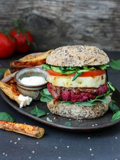 We all know one one of my favourite vegetables is Beetroot, and of course my beloved Zucchini. So here I have combined the two in one delicious burger stack.