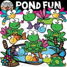 Pond Fun Clipart {Spring Clipart} is perfect for customizing all of your Classroom Resources. Images have been provided in color and bw in 300 dpi. Click on the link to view this set and more in my Teachers Pay Teachers shop- Creating4 the Classroom #Clipartforteachers
