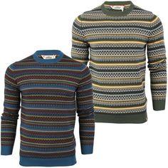Mens Fashion Tokyo Laundry Aztec/ Nordic 'Carrock' Crew Neck Jumper/ Sweater