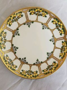 Art Nouveau PICKARD Hand Painted Fruit Tree/White Daises Design Gold Trim Plate