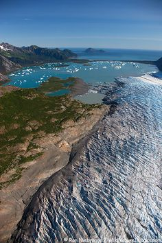 Aerial view of Bear Glacier and Bear Lagoon, near Seward, Alaska
