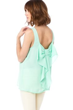 ShopSosie Style : Coletta Bow Tank in Mint